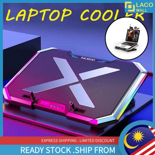 🔥 READY STOCK 🔥 LACO Kipas pad penyejuk komputer riba Berwarna warni LED RB-Q8 Notebook RGB Cooler light led gaming game Pad 6 Fans 7 Levels Adjustable Laptop Stand Malaysia