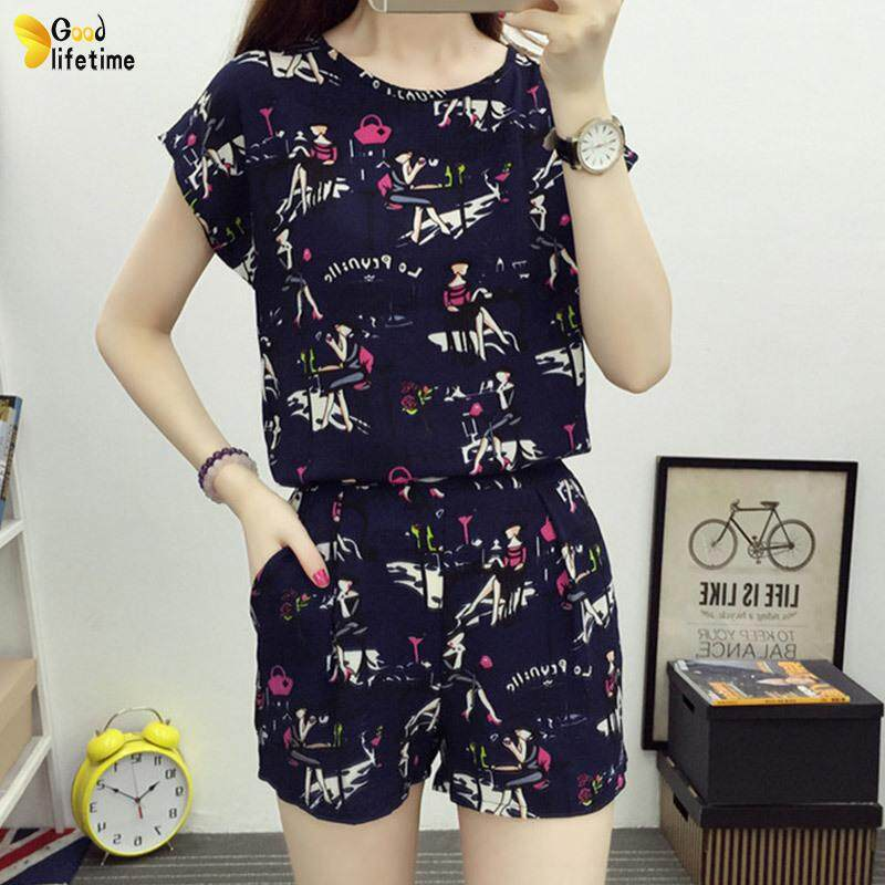 8b5cee018ae9 GLT 2pcs set Summer Suit Short Sleeves Tops Short Pants Loose Round Neck  Casual Female