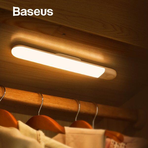 Baseus LED Tủ Quần Áo Ánh Sáng PIR Motion Sensor Ánh Sáng USB Sạc Night Light LED Night Lamp Nam Châm Tường Ánh Sáng Trắng Ấm Áp