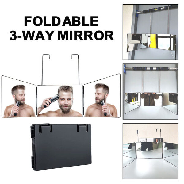 Gương 3 Chiều Gương Gập 360 Độ, Gương Kính Thật Tự Cắt Tóc Có Thể Gập Lại Có Thể Điều Chỉnh Gương, Dành Cho Du Lịch Gia Đình giá rẻ