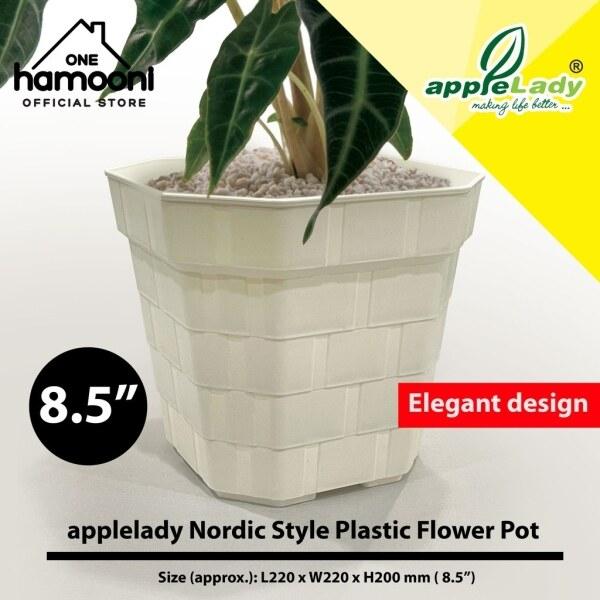 [Buy 2 at RM9.90] 8.5  Applelady Nordic Square Flower Pot White Garden Plastic Pot Pasu Bunga Plastik Gaya Nordic Putih