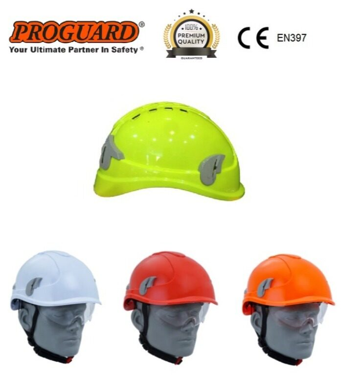 ALPIN PLUS Lightweight Ventilation ABS Safety Helmet Fitted With Safety Spectacles & 4 Point Chin Strap Comply To CE PROGUARD