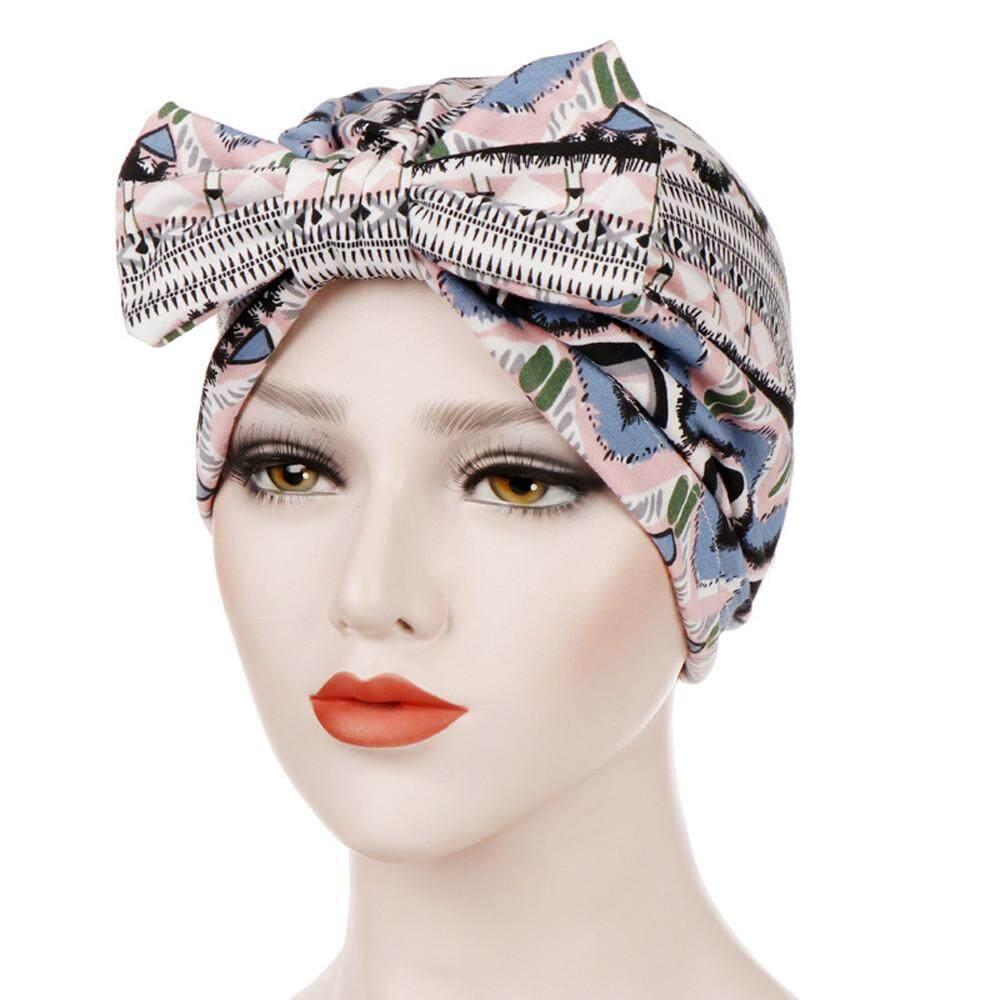 bacac32a680a0 Murphystore Women Bowknot Muslim Stretch Turban Hat Chemo Cap Hair Loss  Head Scarf Wrap Cap No