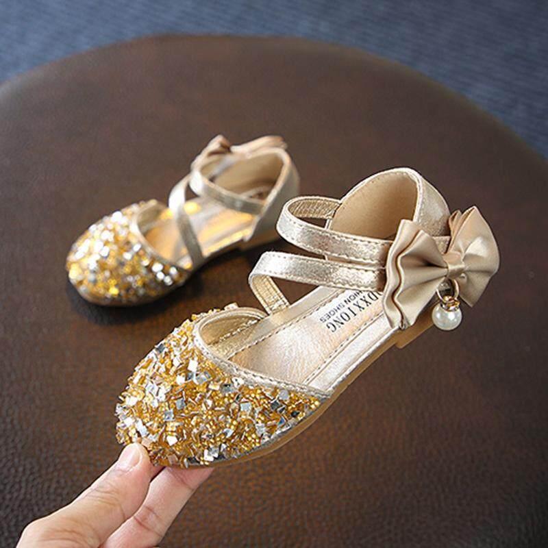 Giá bán Trẻ Em mùa hè Bé Gái Kim Sa Lấp Lánh Giày Sandal Ngọc Trai Nơ Mềm Mại-Đế Giày Đầu Tiên Xe Tập Đi