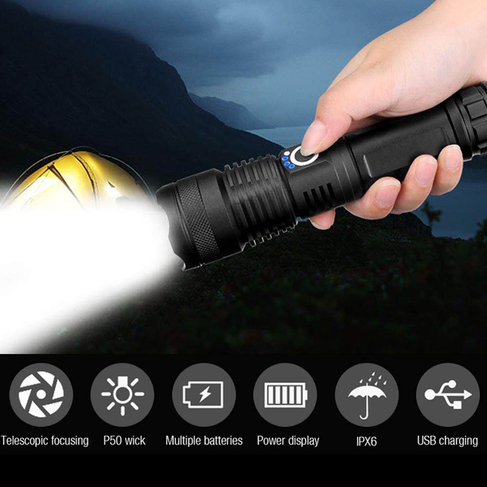 Ultra Bright XHP50 5 Modes LED USB Rechargeable Aluminum alloy Flashlight Torch