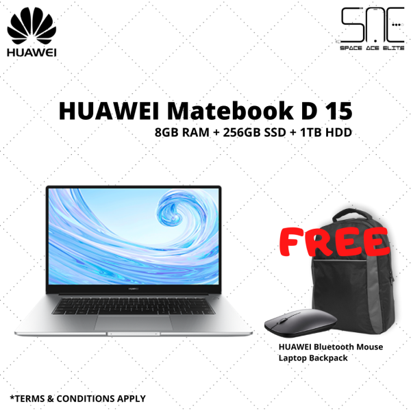 [READY STOCK] Huawei MateBook D15 15.6-Inch 8GB RAM 256GB SSD 1TB HDD I ORIGINAL TWO YEARS HUAWEI MALAYSIA WARRANTY Malaysia