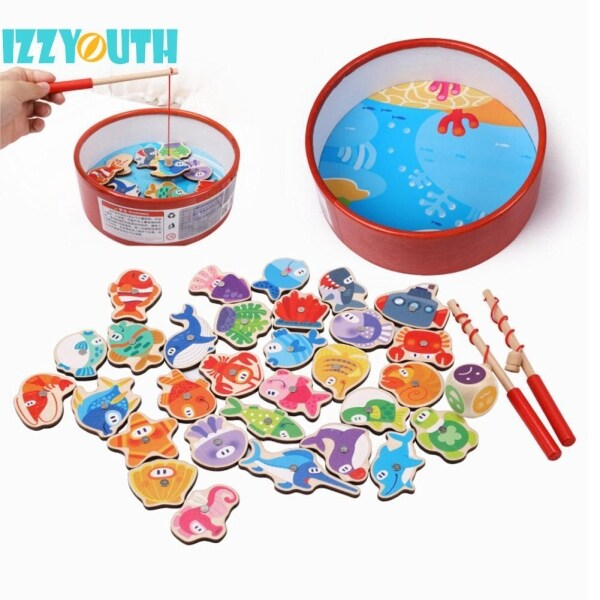 ❤Love Baby❤Stock Sweet Outdoor Magnetic Fishing Parent-child Interactive Toy Wooden Fish Bath Toys Singapore
