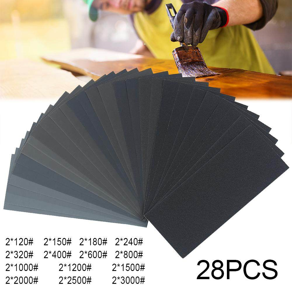 Grit Sheets Sander Paper 28PCS Mixed Wet and Dry Waterproof Sandpaper 120-3000