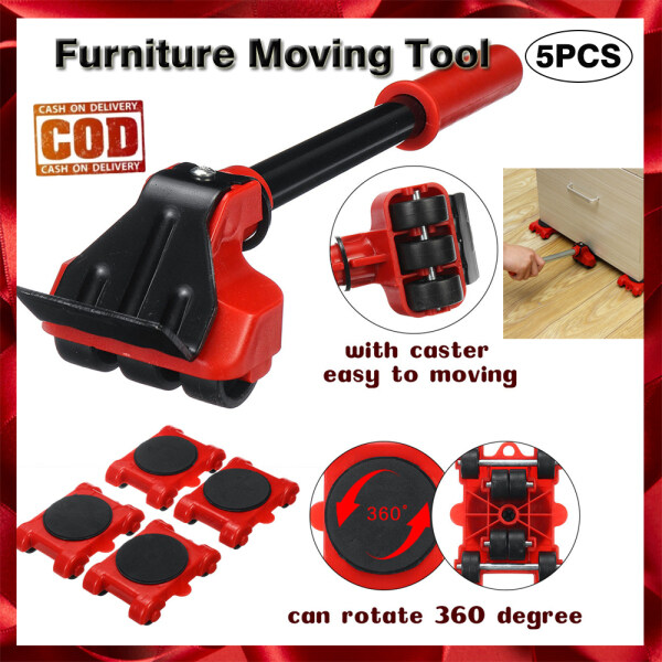 [Cash On Delivery] 5pcs Furniture Lifter Transport Tool Heavy Duty Furniture Mover set 4 Move Roller 1 Wheel Bar for Lifting Moving Furniture Helper