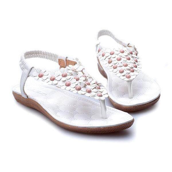 Mã Khuyến Mại tại Lazada cho 【Ready Stock】fashion Thời Trang Nữ Chiếu Trúc Hạt Xăng Đan Mùa Hè Trơn Boho Đi Biển Cho Mồ Hôi Giày Hoa