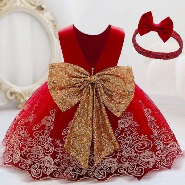 Nơi bán Ai Meng Vải Cho Bé Gái Váy Công Chúa Phồng 0-5 Tuổi Đầm Không Tay Kèm Thắt Lưng Kim Sa Đầm Công Chúa Thắt Nơ Lớn Eo + Băng Đô Dự Tiệc Đám Cưới