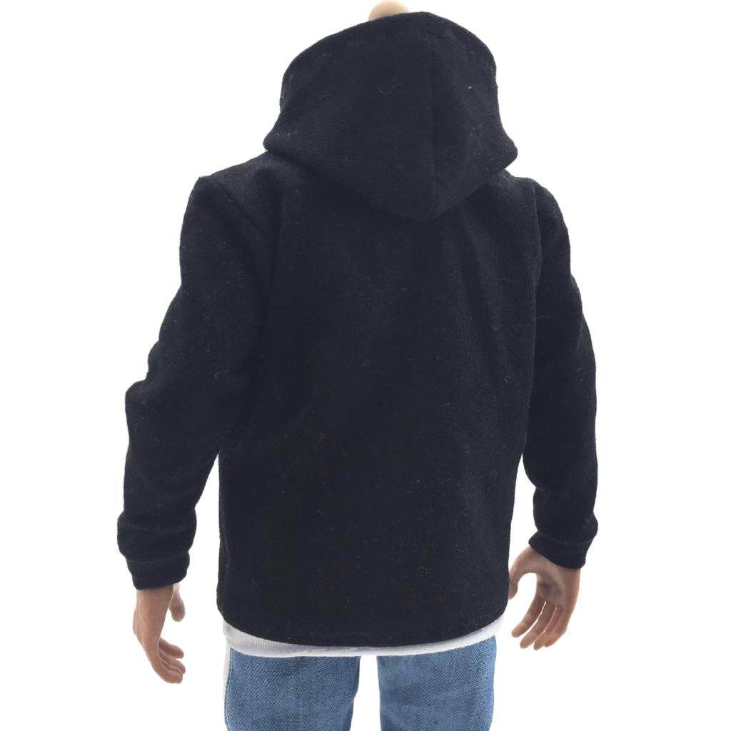 Kesoto 1/6 Scale Black Hoodies for TV Movie Game 12 inch Male Action Figure