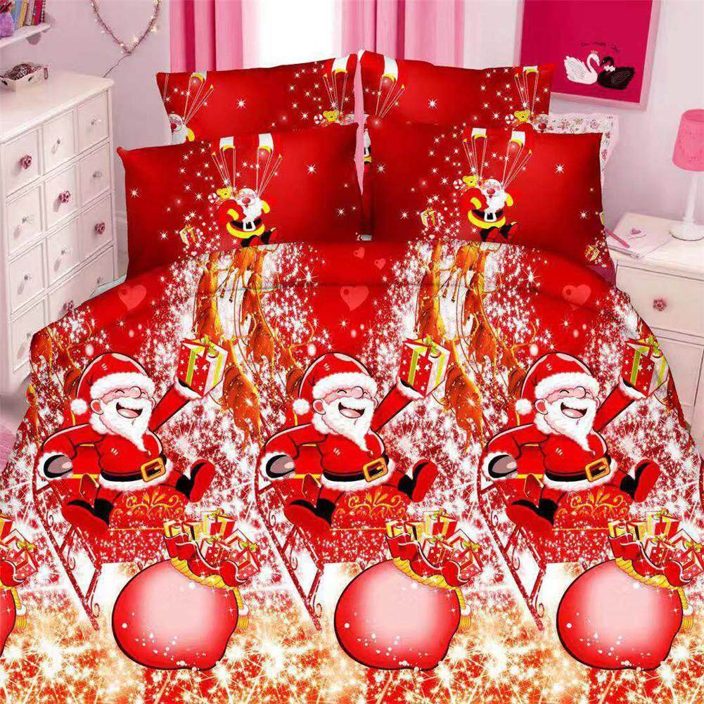 Christmas Quilt Cover Sheets Red 3D Emerizing Covers for Christmas Decoration
