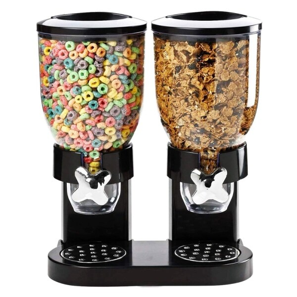 Bảng giá Double Chamber Airtight Cereal and Dry Food Dispenser with Built in Spill Tray for Home, Kitchen, Countertops, Breakfast, Pets, Cat Food, Dog Food, Candy, Pantry Điện máy Pico