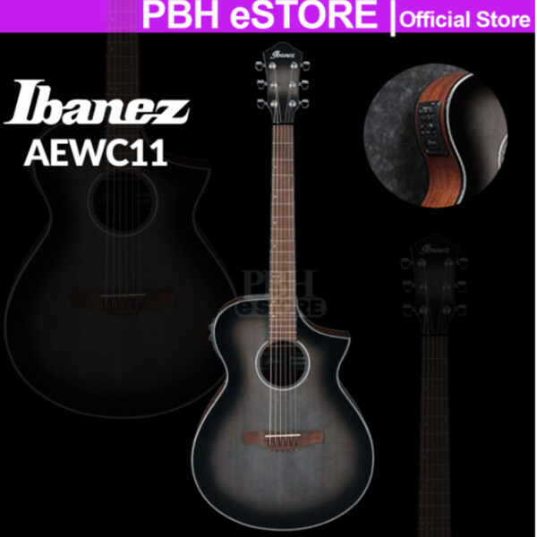 Ibanez Acoustic Guitar AEWC11 Spruce Top Sapele Transparent Charcoal Burst Acoustic -Electric AEWC11-TCB Malaysia