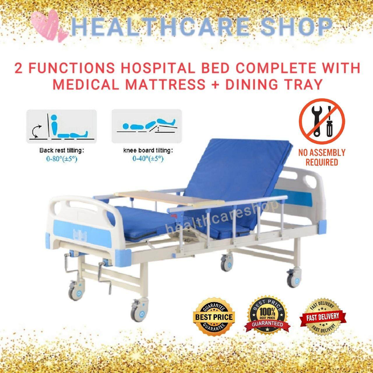 2 Functions Manual Hospital Bed Complete With Medical Mattress + Wooden  Dining Tray