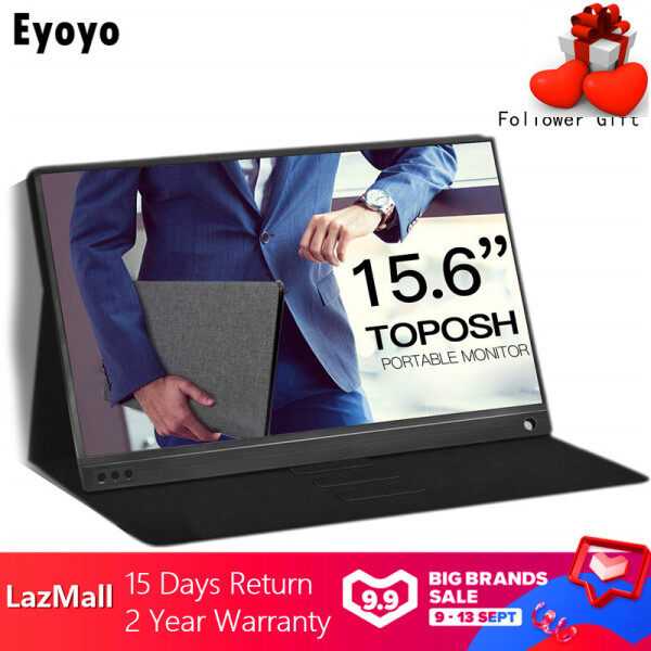 【In Stock】Eyoyo Work For Home Portable Touchscreen 3000Mah Battery  Monitor For Pc 1920x1080 IPS 15.6-Inch Display Computer LED with Leather Case For Samsung HuaweiPS4/Xbox/Phone/Camera
