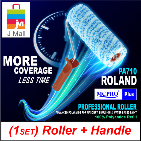 [1SET ROLLER + HANDLE] MCPRO 7 inch Premium & Professional Paint Roller Cover Refill 100% Polyamide Roller (20mm Pile Length) ROLAND PA710 / MANHATTAN PA730