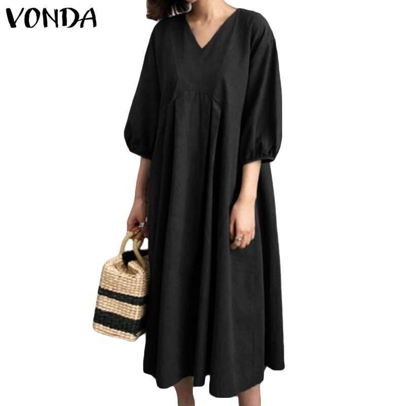 ad84bdccfc VONDA Women Casual Fashion Plain Soft Vintage Loose Retro Plus Size Cotton  Shirt Dress