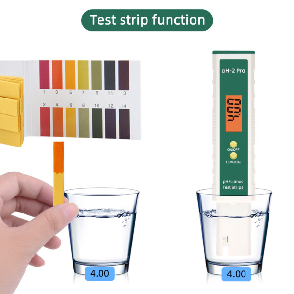 yieryi update PH Meter Temperature meter water quality tester with PH paper Test Strips function for drinking water aquariums