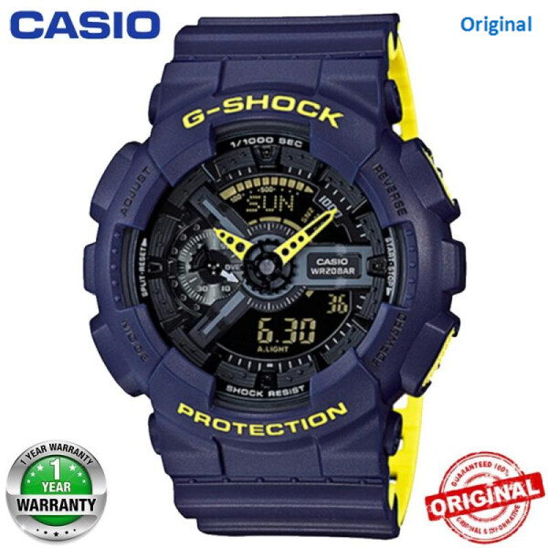 2020 (Free Shipping) Original G Shock GA-110DC-1A Men Sport Watch Duo W Time 200M Water Resistant World Time LED Auto Light Wist Sports Watches with 2 Year Warranty GA110 GA-110 Malaysia