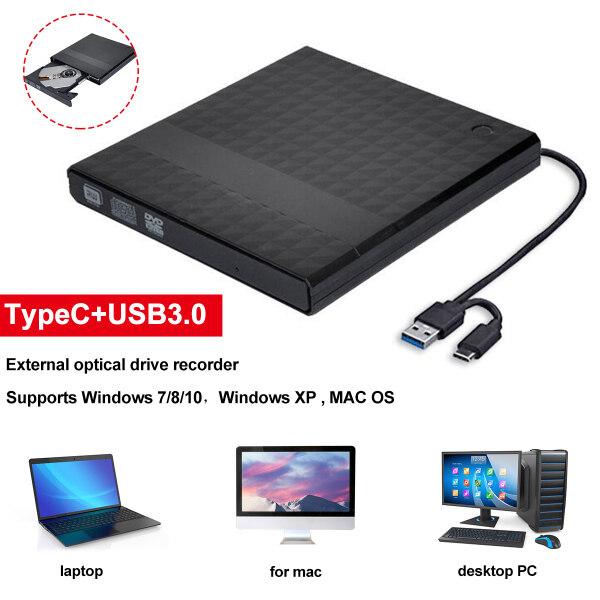 Giá Mỏng Bên Ngoài USB 3.0 + Đầu Đọc Ổ Đĩa DVD RW CD Type-C Cho Máy Tính Xách Tay