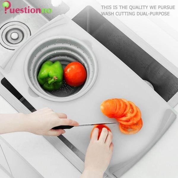 3 In 1 Multi-function Sink Drain Basket Cutting Board Filter Chopping Block