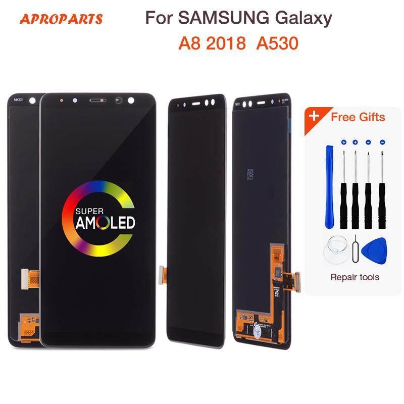 100% Asli AMOLED 5.6 ''Layar LCD untuk Samsung Galaxy A8 2018 LCD A530 LCD Rakitan Digitizer Sembuh Kecerahan Disesuaikan LCD Bagian Pengganti Layar + Alat