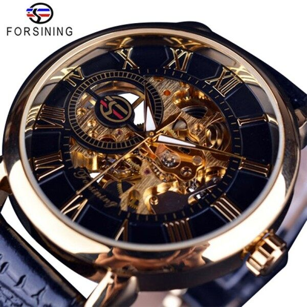 FORSINING Watch For Men Top Brand Luxury Mechanical Skeleton Watch Luminous Waterproof Leather Strap 3D Literal Design Roman Number Dial Hollow Automatic Watch Black Golden Malaysia