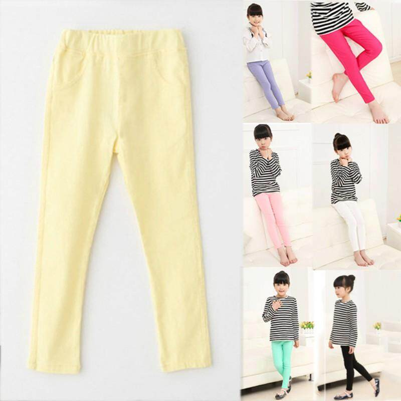 7982eb1e0 Kids Girl Candy Colors Pencil Trousers Stretch Elastic Slim Pants Leggings  3-9T