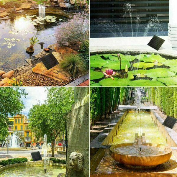 TTLIFE Solar Feature Fountain Submersible Water Pump Outdoor Garden Pool Pond