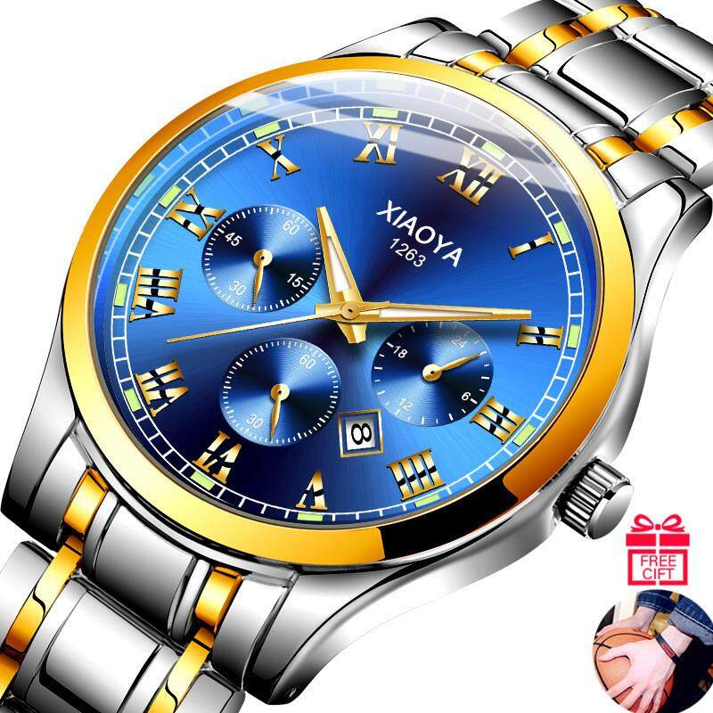 Bubblekiss XIAOYA Mens Watch Casual Fashion Luminous Calendar Watches Quartz Wristwatches Clock for Men【+ Free Gift 1Pcs Fashion Bracelet】 Malaysia