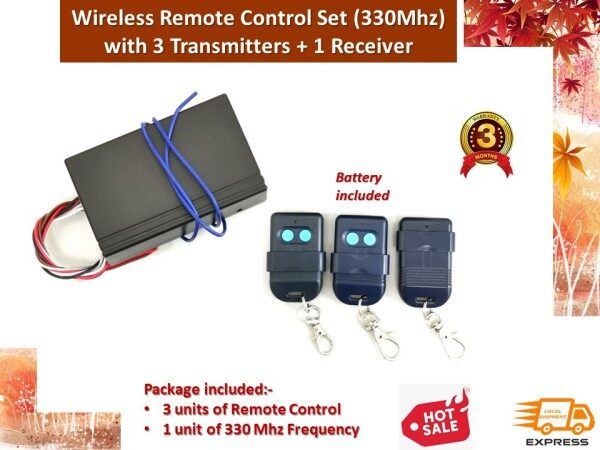 Autogate Door Wireless Remote Control Set (330Mhz) with 3 Transmitters + 1 Receiver
