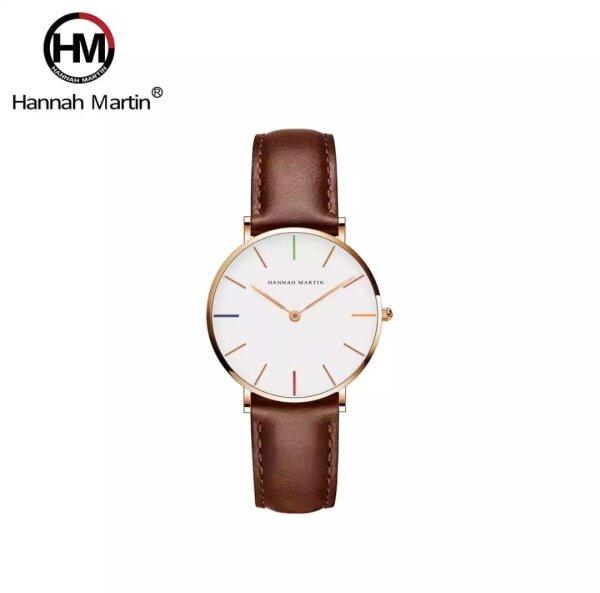 [LOCAL SELLER] 100% Original HANNAH MARTIN watch for Women Japan Quartz Movement Waterproof Ultra Thin Simple Casual Stainless Steel Leather 36mm Jam Tangan Perempuan Malaysia