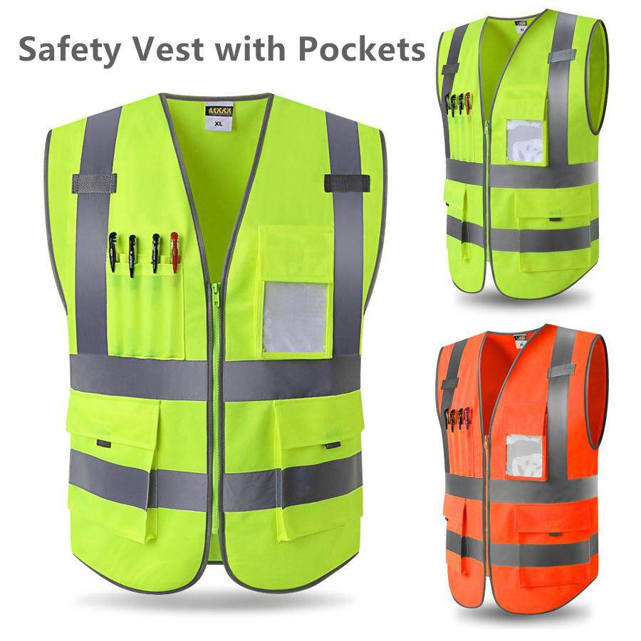 4 Pockets High Visibility Zipper Front Safety Vest with Reflective Strips,Size XL