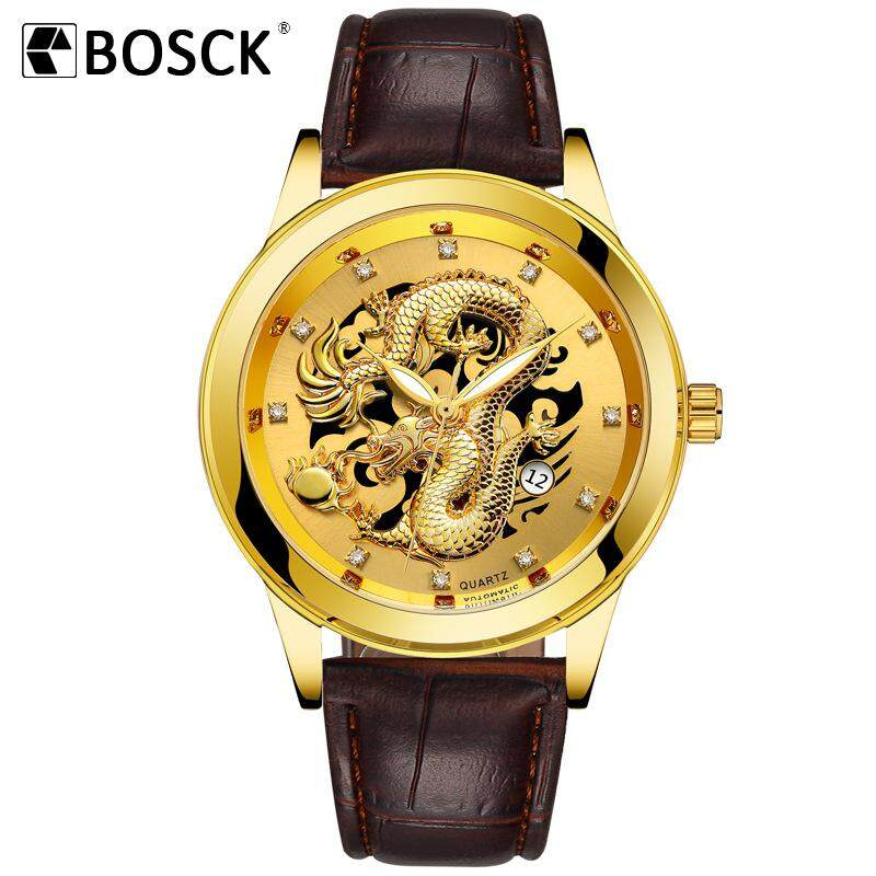 BOSCK Top Brand Luxury Gold Dragon Quartz Watch Stainless Steel Mens Watch Waterproof Wristwatches DressWatch Malaysia