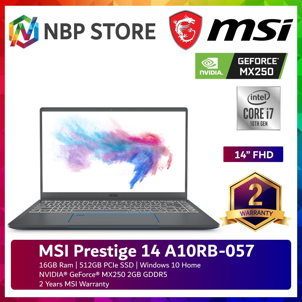 MSI Prestige 14 A10RB-057 14  FHD Laptop ( i7-10710U, 16GB, 512GB SSD, MX250 2GB, W10 ) Malaysia