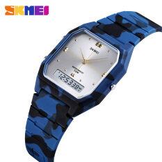 SKMEI Đồng hồ đeo tay 1604 đa năng cho nam và nữ, màn hình kép, chống nước, báo thức – INTL