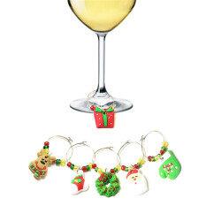 Cái/bộ 6 Chiếc/Bộ Mặt Dây Chuyền Ly Trang Trí Bàn Cây Thông Noel Cup Ring Wine Glass Trang Trí Tiệc