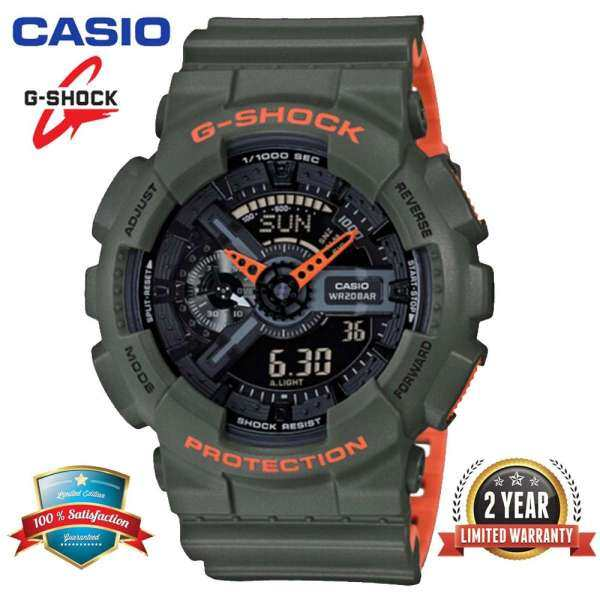 Original G Shock GA110 Men Sport Watch Dual Time Display 200M Water Resistant Shockproof and Waterproof World Time LED Auto Light Sports Wrist Watches with 2 Year Warranty GA-110LN-3A Green Orange (Ready Stock) Malaysia