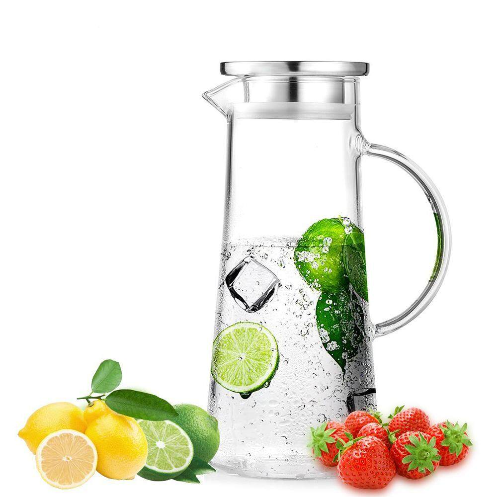 1.5l Glass Jug, Stainless Steel Lid Curling, Borosilicate Glass Jug Wine, Juice, Milk, Cold Water, Hot Coffee, Etc. By Benefitwen.