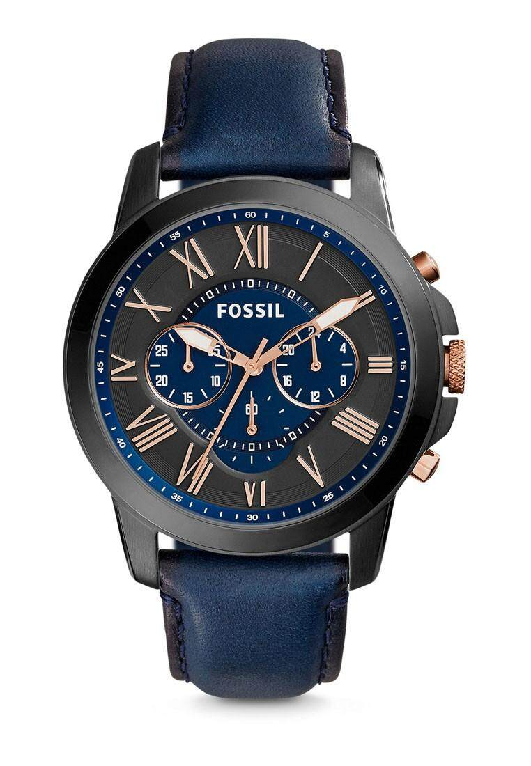 Fossil Grant Chronograph Black Brown Leather Watch FS48 Series Casual Men Watch Malaysia