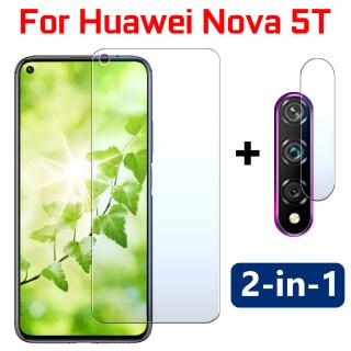 Miếng Dán Bảo Vệ Màn Hình 2in1 Nova 5 T 6se 7i 7se, Kính Bảo Vệ Cho Huawei Nova5T Nova6se Nova7i Nova7se, 5 T T5 6 Se 7i 7se, Kèm Ống Kính Máy Ảnh, Kính Cường Lực HD Sheet Len thumbnail