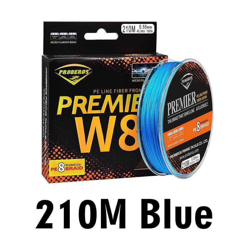 Ready Stock Japanese Proberos Blue Fishline 8 Weaves Fishing Line 210M 8 Braided Line Available 15-100LB PE Line Blue/Grey/Blue/Yellow/Red