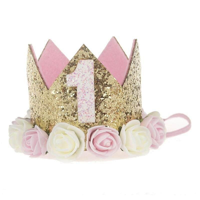 1 PC Baby Boys Girls First Birthday Decor Flower Party Cap Crown Headband 2 3