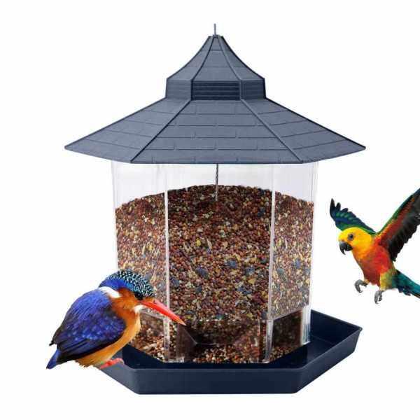Hanging Bird Feeder Gazebo Wild Bird Feeders Hexagon Shaped with Roof for Garden Yard Outside Decoration (Grey)
