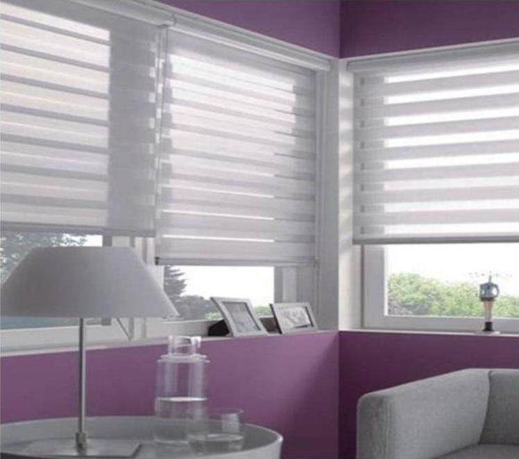 60*120cm Punch-free curtain Window Roller Blinds Day And Night Zebra Vision Striped Multi Sizes White / Grey