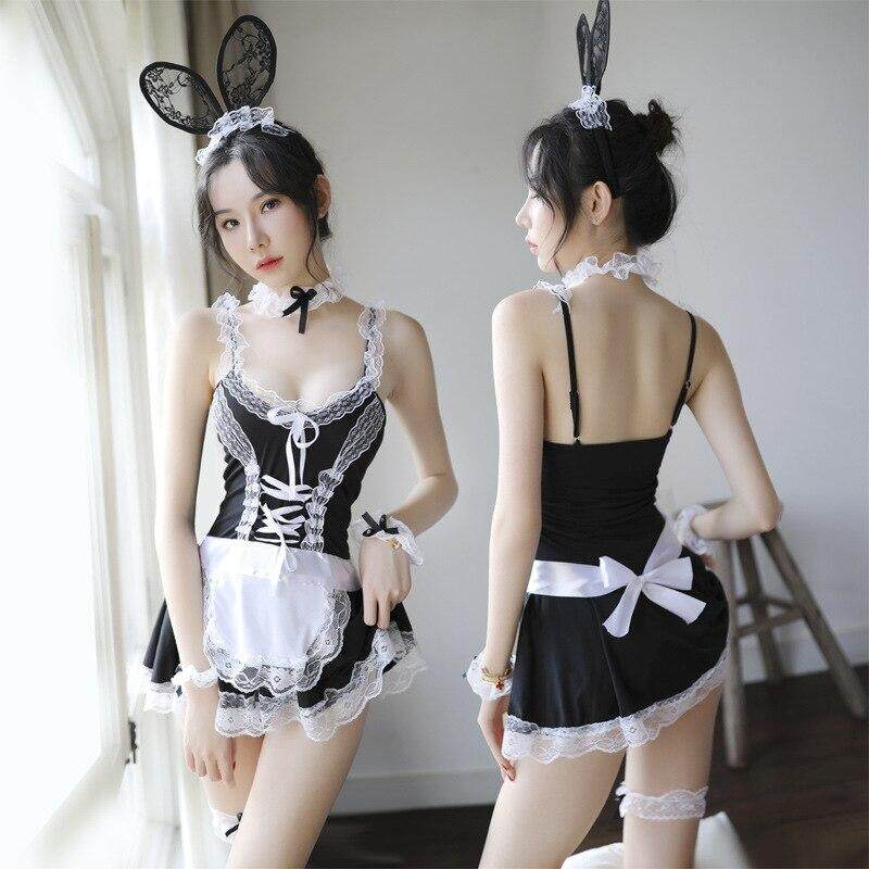 Bunny Maid Uniform Women Sexy Night Dress Cosplay French Apron Maid Servant Lolita Costume