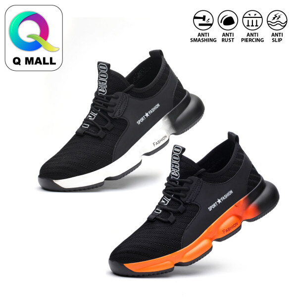 Q MALL Safety Shoes Sport Shoes Wear-Resistant Anti-Smash Steel Flying Woven Breathable Protective Steel Toe Cap Shoes 832 - BLACK WHITE / BLACK ORANGE