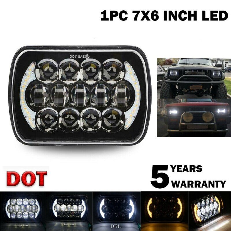 210W 5X7 Inch 7X6 Inch Projector LED Headlight DRL with H4 Harness for Chevrolet Jeep Cherokee XJ Toyota Tacoma & 88-95 Pickup 1Pcs